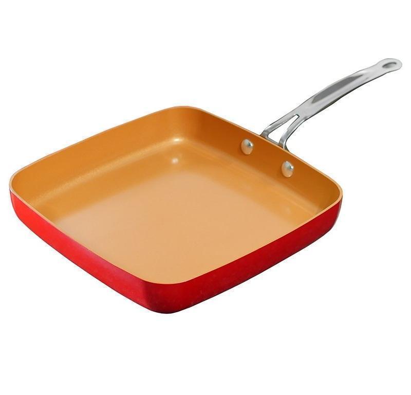 Bulbhead Red Copper Square Dance Ceramic Cookware Non Stick