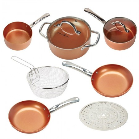 Copper Chef Cookware 9-pc, Round Pan Set Aluminum & Steel with Ceramic Non-Stick Coating