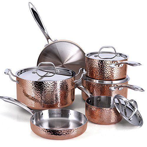Fleischer & Wolf Seville Series Cookware Set Tri-Ply Hammered Stainless Steel Copper
