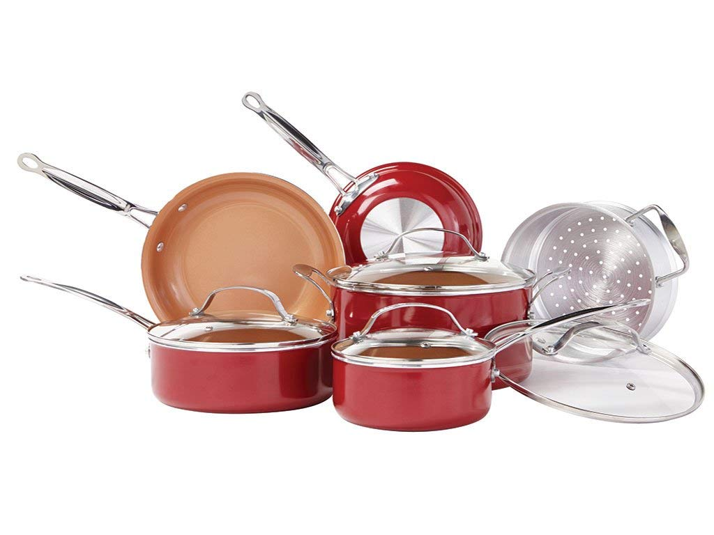 BulbHead Red Copper 10-piece Copper-Infused Ceramic Non-Stick Cookware Set