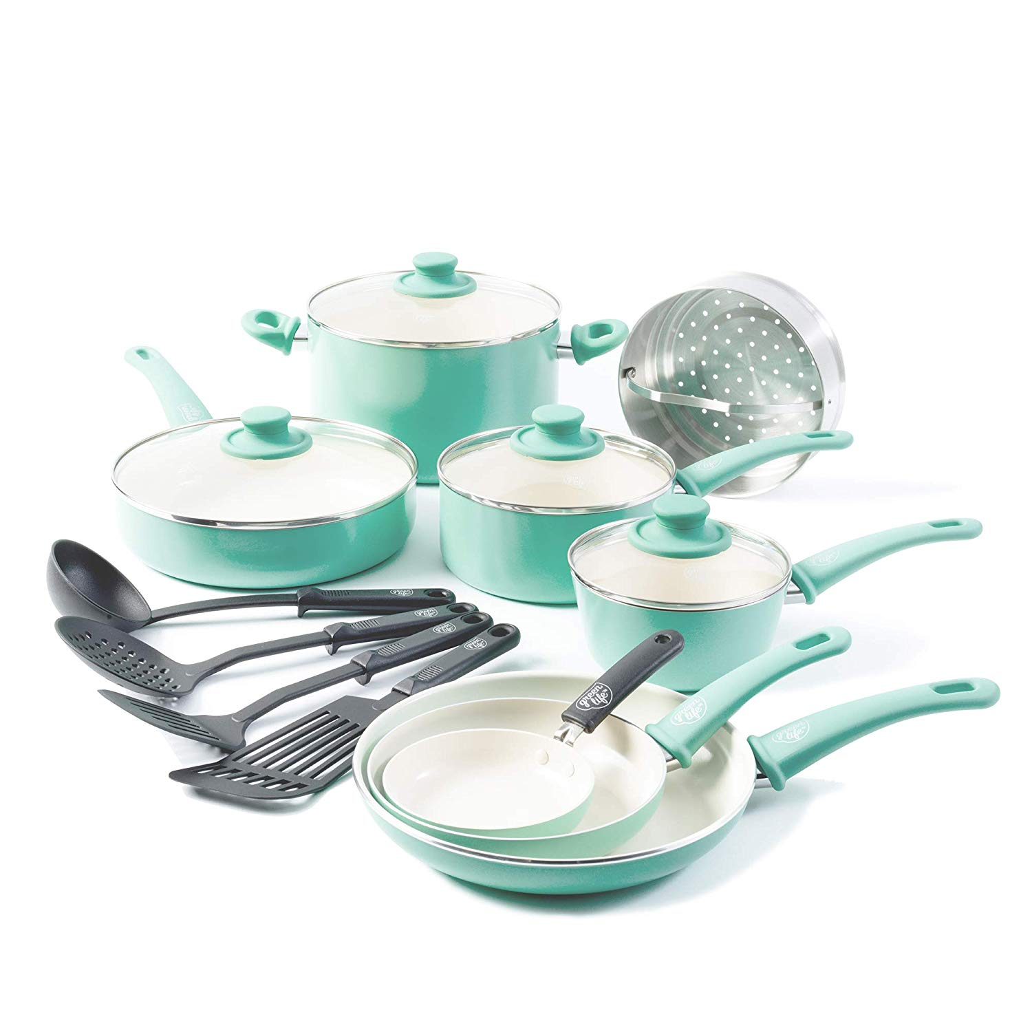 GreenLife Soft Grip 16-piece Ceramic Non-Stick Cookware Set