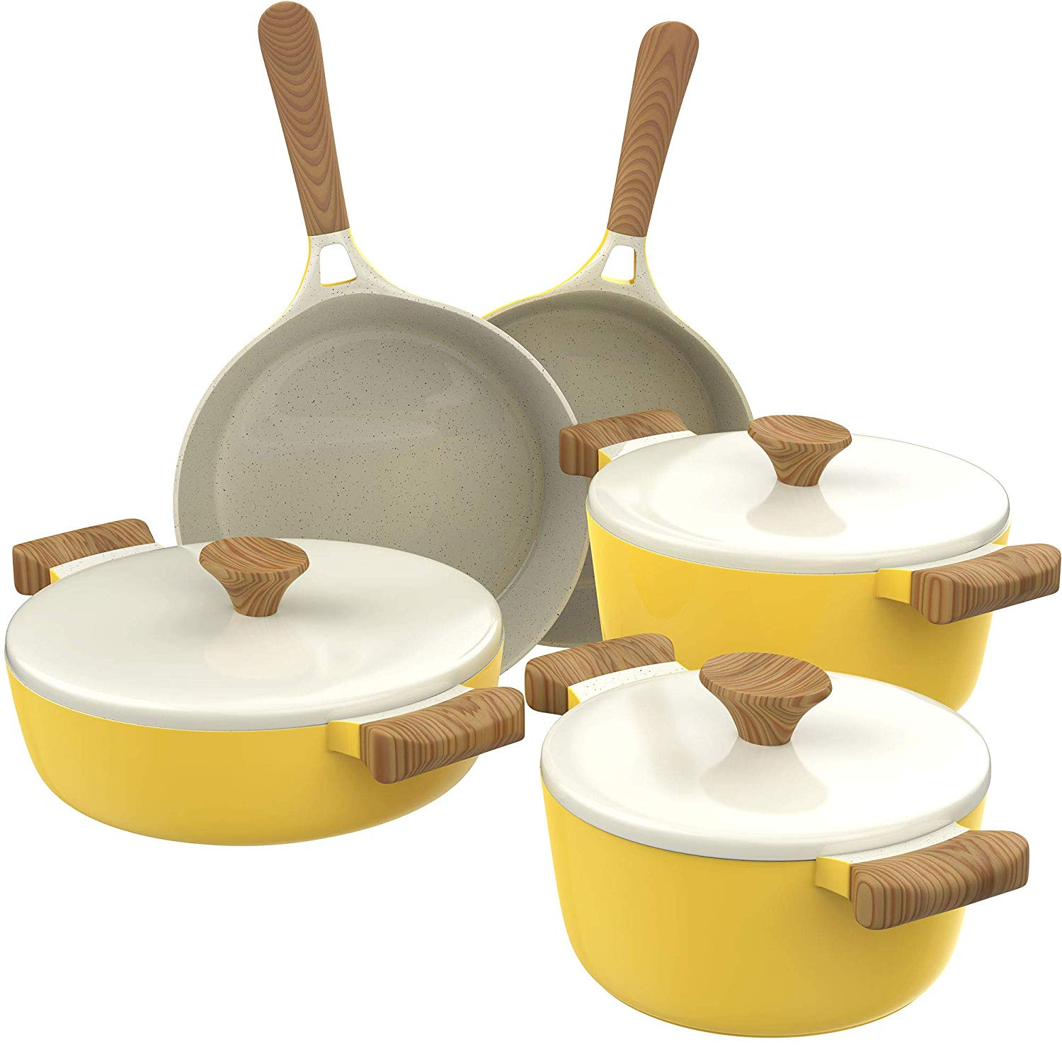 hOmeLabs Ceramic 8 Piece Cookware Set