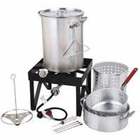 Backyard Pro Deluxe 30 qt Aluminum Turkey Fryer Steamer Kit | 55000 BTU Cast Iron Liquid Burner