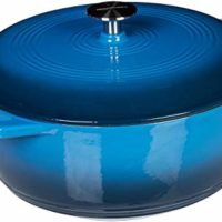 AmazonBasics Enameled Cast Iron Covered Dutch Oven, 4.3-Quart, Blue