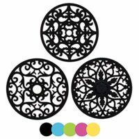 3 Set Silicone Multi-Use Intricately Carved Trivet Mat - Insulated Flexible Durable Non Slip Coasters (Black)