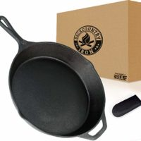 Backcountry Cast Iron Skillet(12 Inch Large Frying Pan + Cloth Handle Mitt, Pre-Seasoned