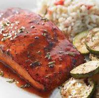 Bourbon-Soy glazed Salmon