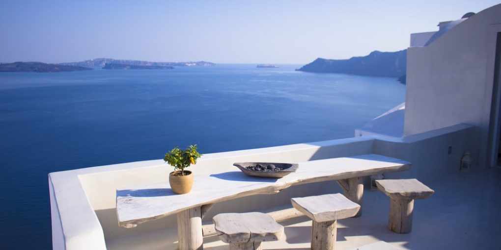 dining table by ocean
