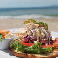 open-faced shrimp salad sandwich
