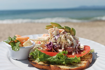 open-faced shrimp salad sandwich