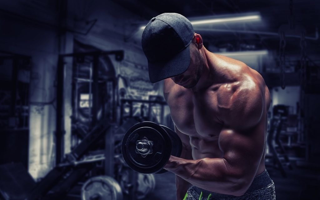 A man holding dumbbell